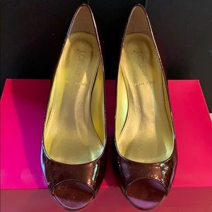 Vintage J.Crew Joley Pearlized Patent Peep Toes